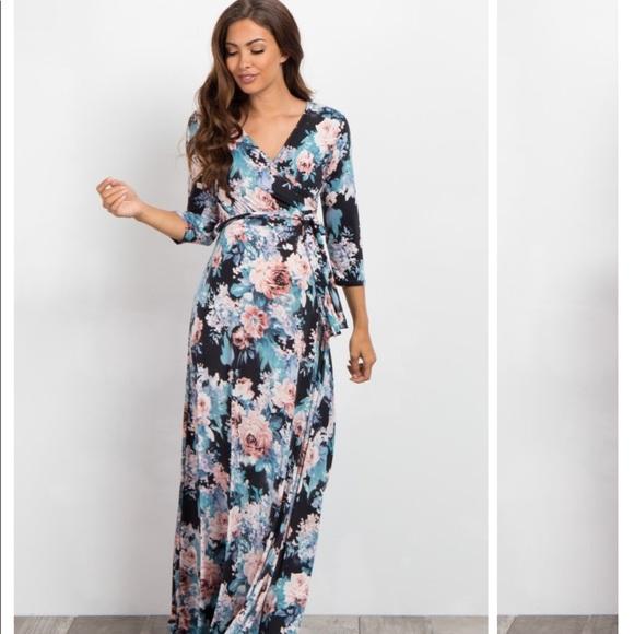 31f9b680f7e Black floral maternity wrap dress. M 5ab8993e46aa7c877cf19ee4